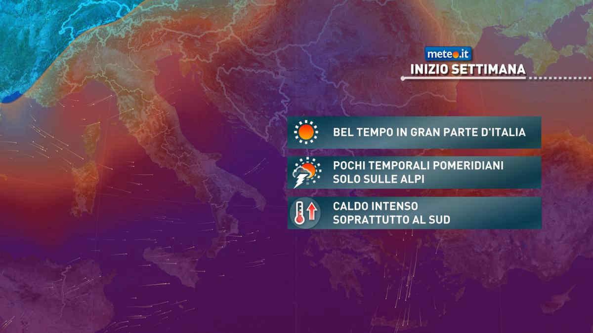 Meteo, da lunedì 28 caldo in aumento e temporali sulle Alpi