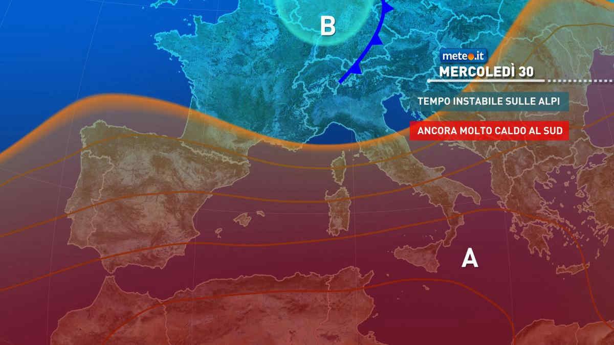 Meteo, mercoledì 30 giugno ancora molto caldo con l'Anticlone protagonista