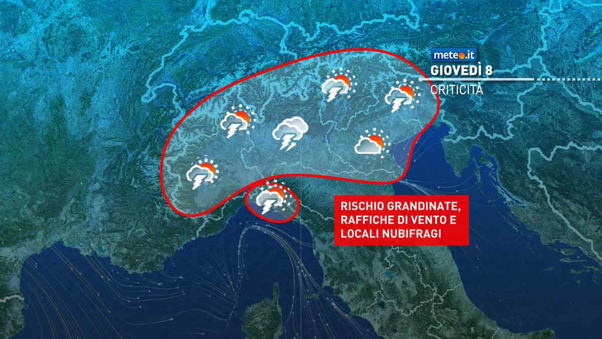 Meteo, giovedì 8 caldo intenso al Sud, forti temporali al Nord