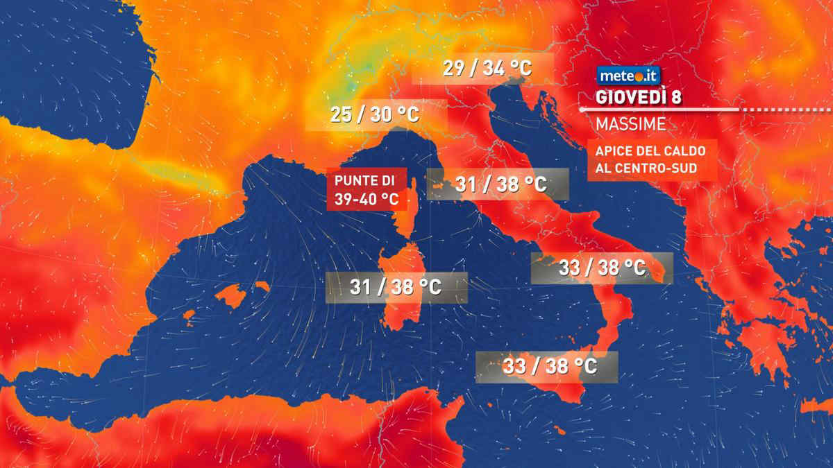 Meteo, giovedì 8 Italia divisa in due: forti temporali al Nord, picchi di 40 gradi al Centro-Sud