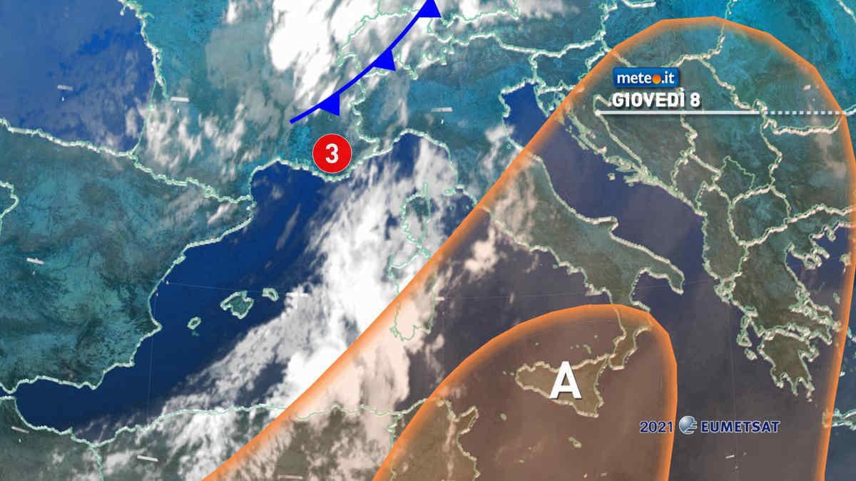 Meteo, 8 luglio con caldo intenso al Centro-Sud e forti temporali al Nord