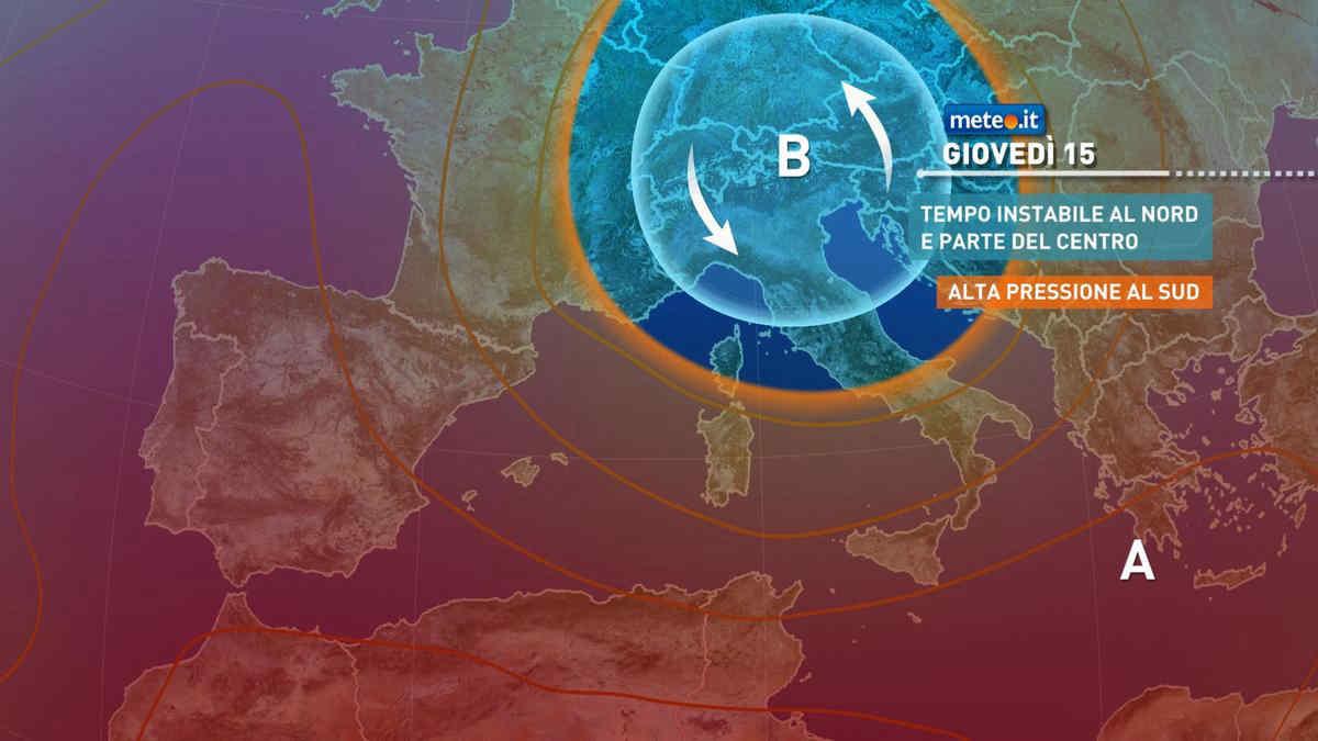 Meteo, 15 luglio con ancora instabilità e aria più fresca sull'Italia