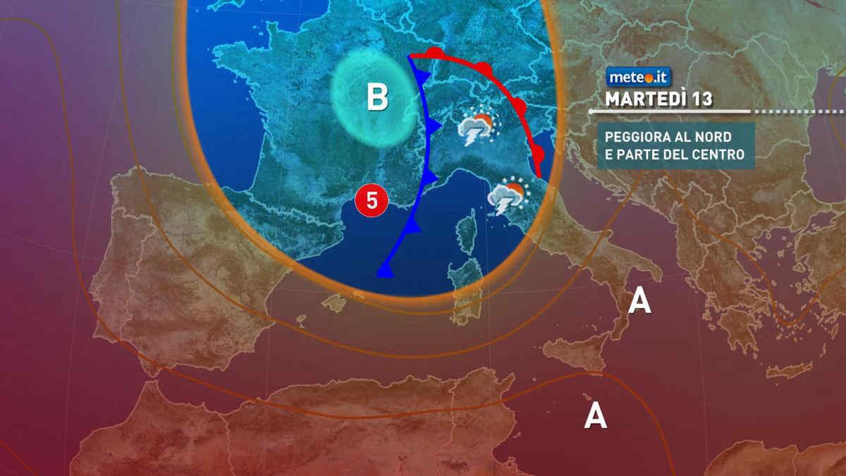 Meteo, 13 luglio a rischio forti temporali al Nord con brusco calo termico
