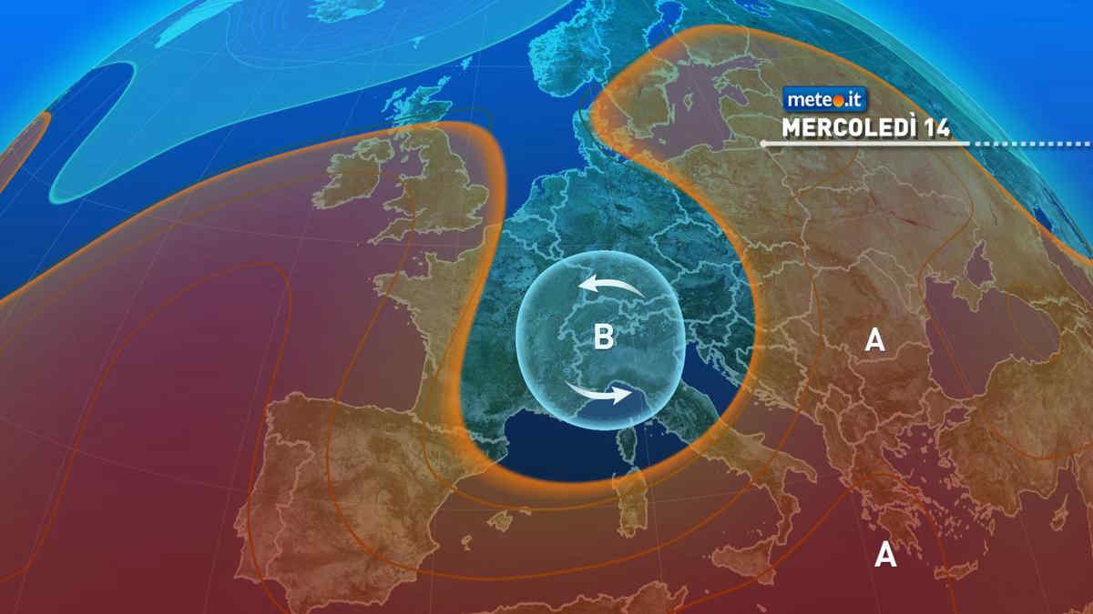 Meteo, 14 luglio molto instabile al Nord con caldo in attenuazione