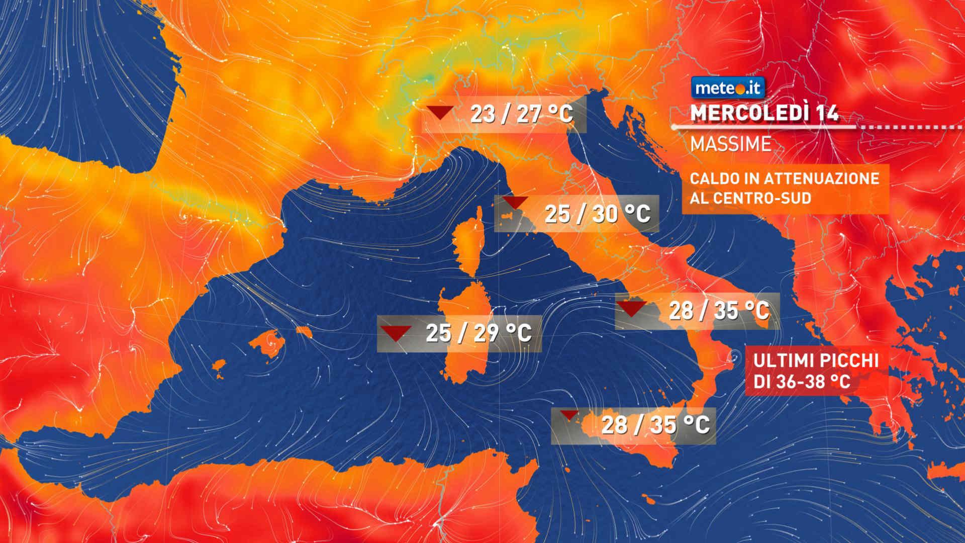Meteo, mercoledì 14 luglio l'aria fresca che segue la perturbazione si spingerà verso sud