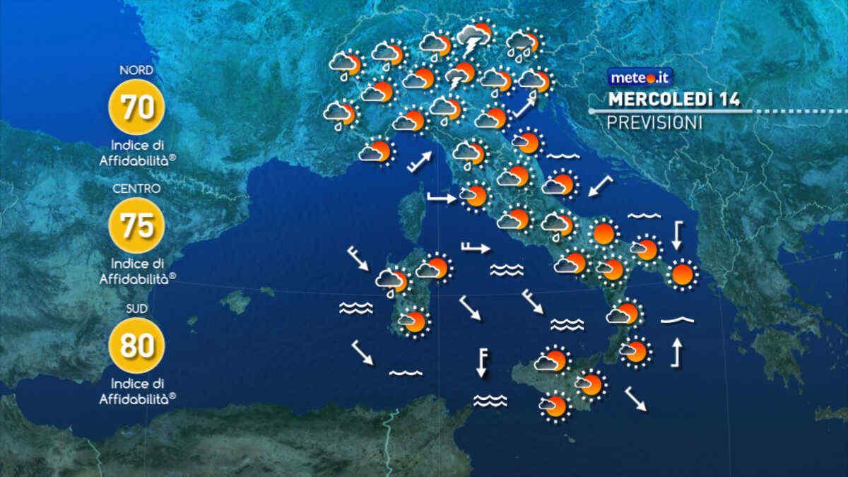 Meteo, oggi mercoledì 14 luglio, fine della fiammata africana anche al Sud