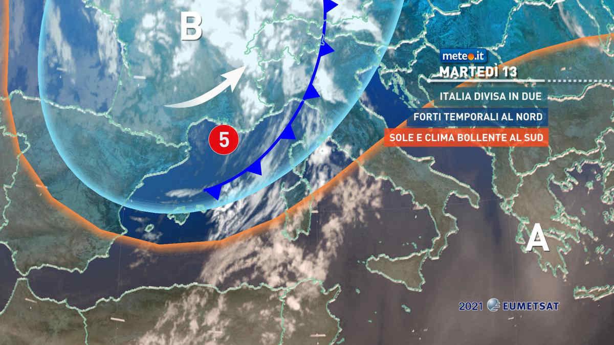 Meteo, martedì 13 luglio Italia divisa in due dal tempo