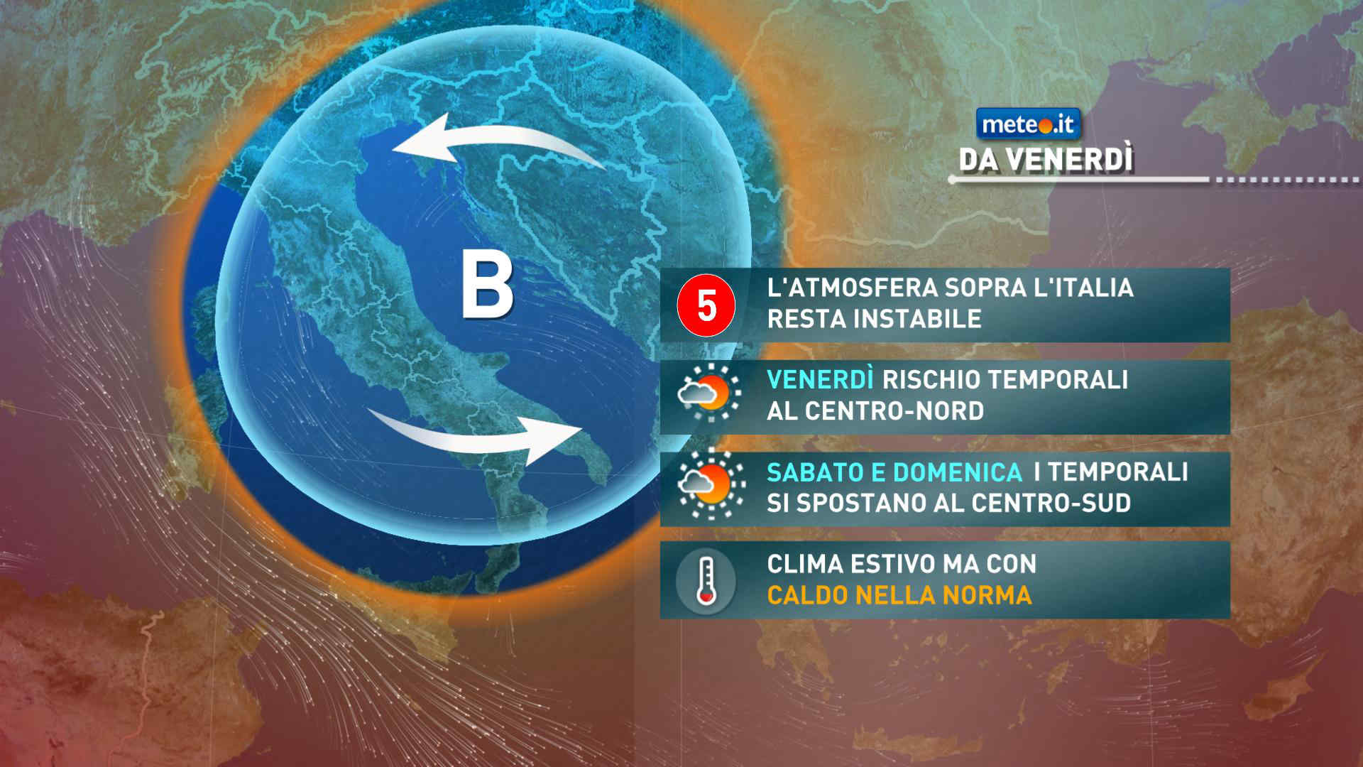 Meteo, da venerdì 16 luglio l'aria fresca e instabile si sposterà verso sud-est