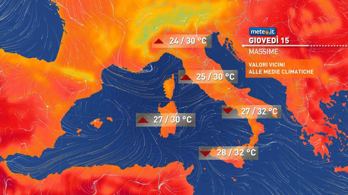 Meteo, giovedì 15 fine del gran caldo al Sud, ancora temporali al Nord