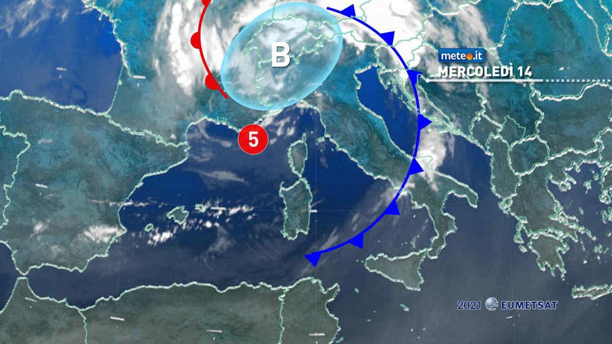 Meteo, 14 luglio generale rinfrescata sull'Italia: ancora rischio temporali al Nord
