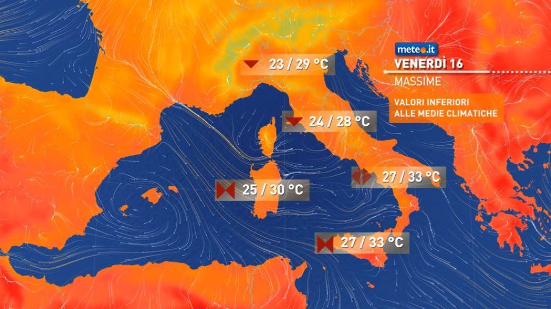 Meteo, tra il 16 e 17 luglio clima fresco e instabilità in aumento al Centro-Sud
