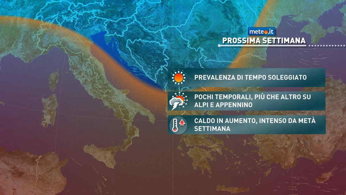 Meteo, dal 19 luglio si rinforza gradualmente l'alta pressione sull'Italia