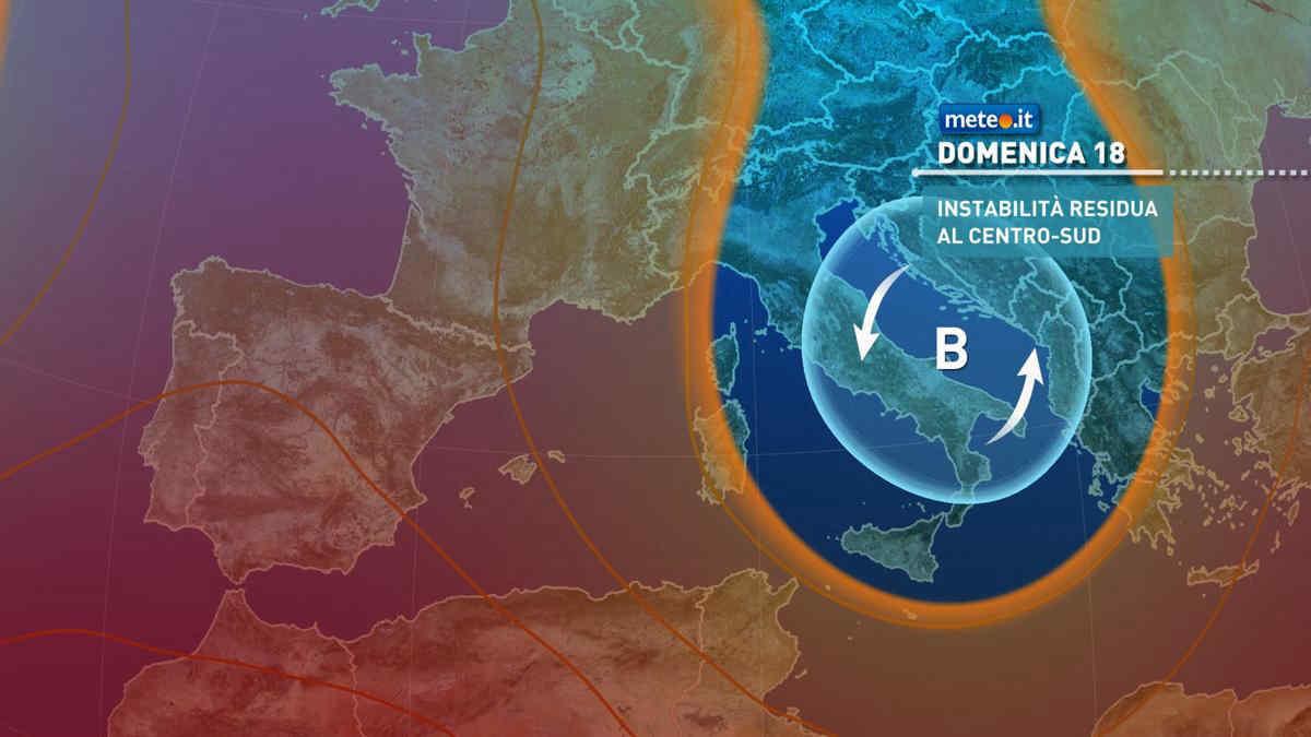 Meteo, domenica 18 luglio ancora instabile al Centro-sud