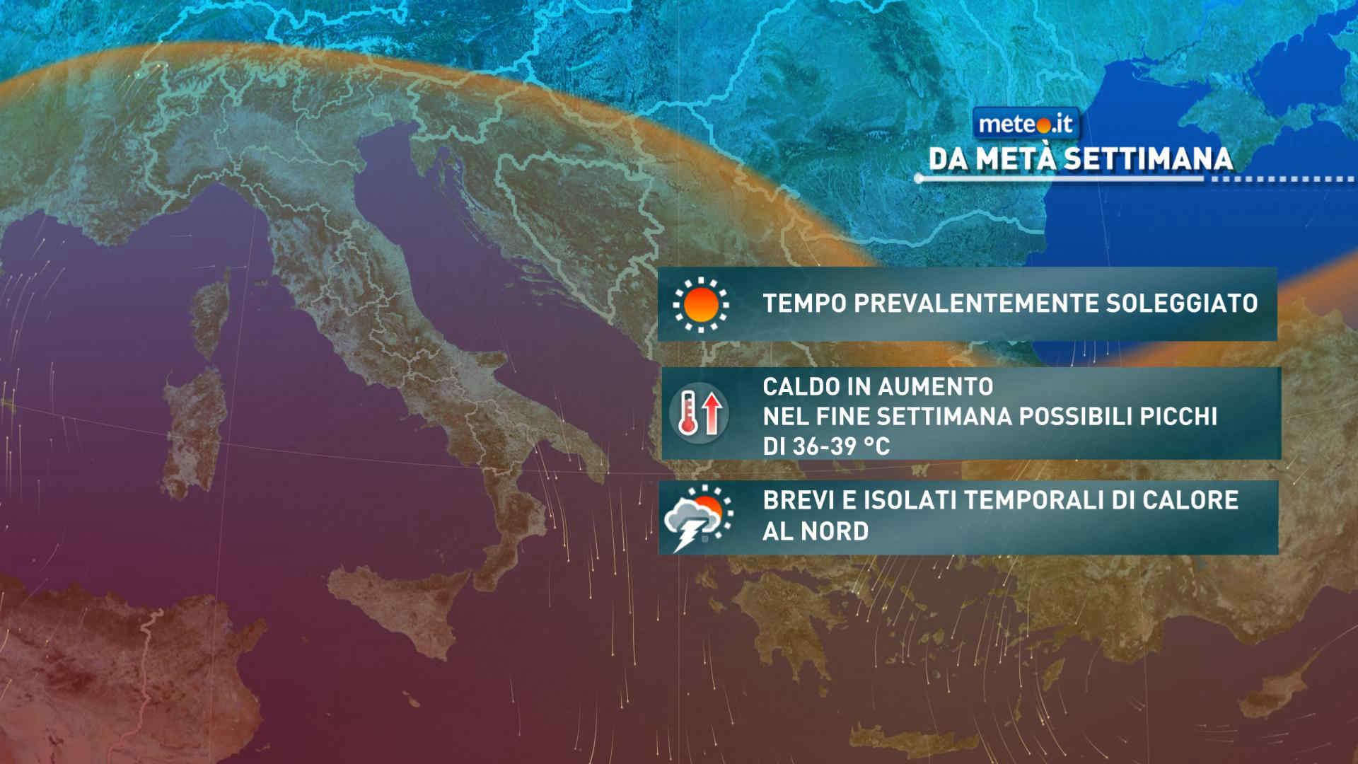 Meteo, nel weekend del 24-25 luglio probabile intensificazione del caldo