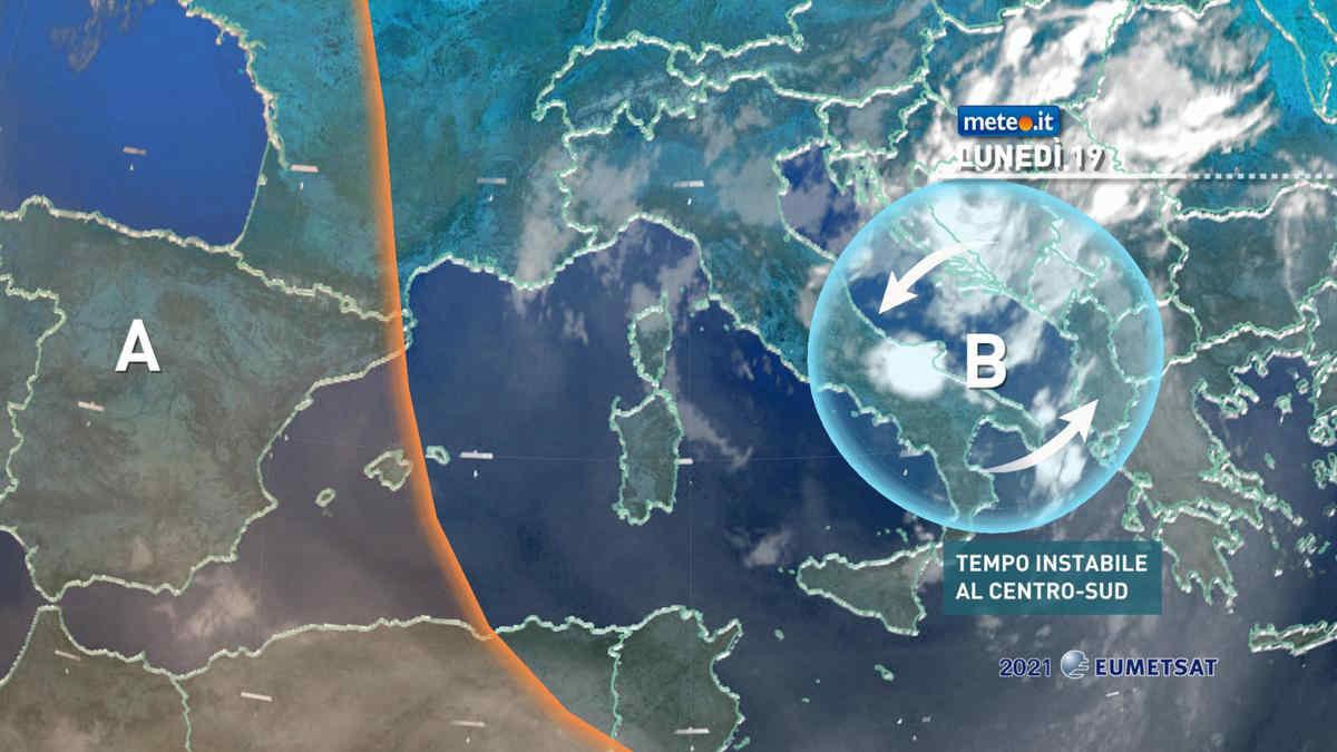 Meteo, lunedì 19 luglio ancora instabile al Centro-Sud