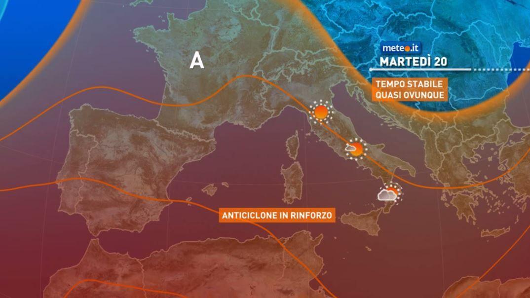 Meteo, da martedì 20 tempo più stabile e caldo in aumento