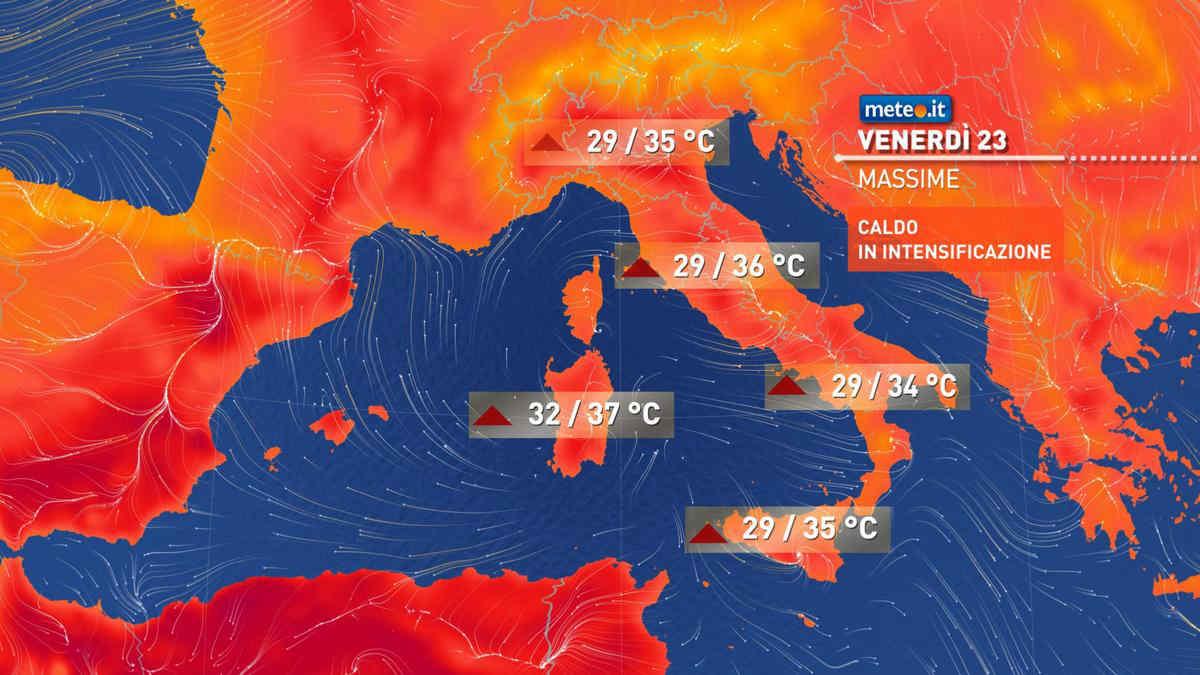 Meteo, oggi venerdì 23 luglio, anticiclone africano e temperature in crescita