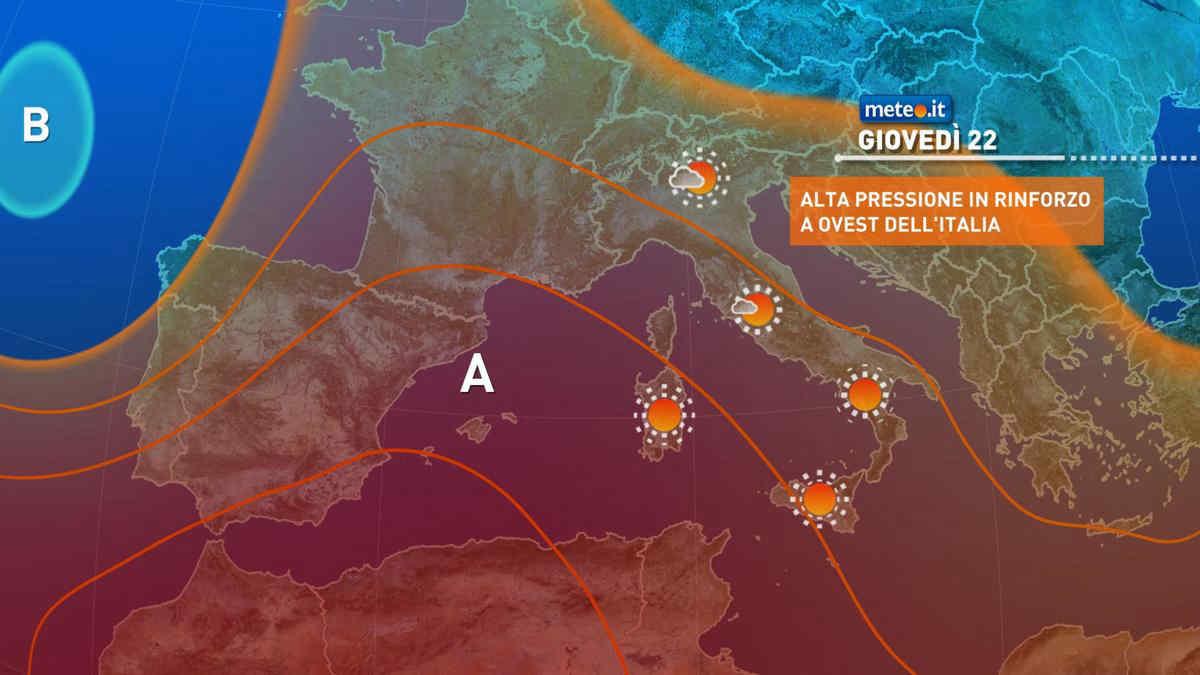 Meteo, giovedì 22 luglio anticiclone nord-africano in rinforzo