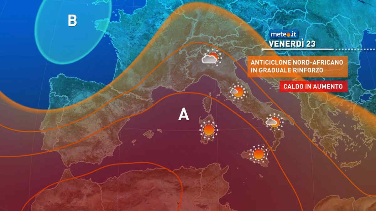 Meteo, venerdì 23 luglio prevalenza di sole e caldo in aumento