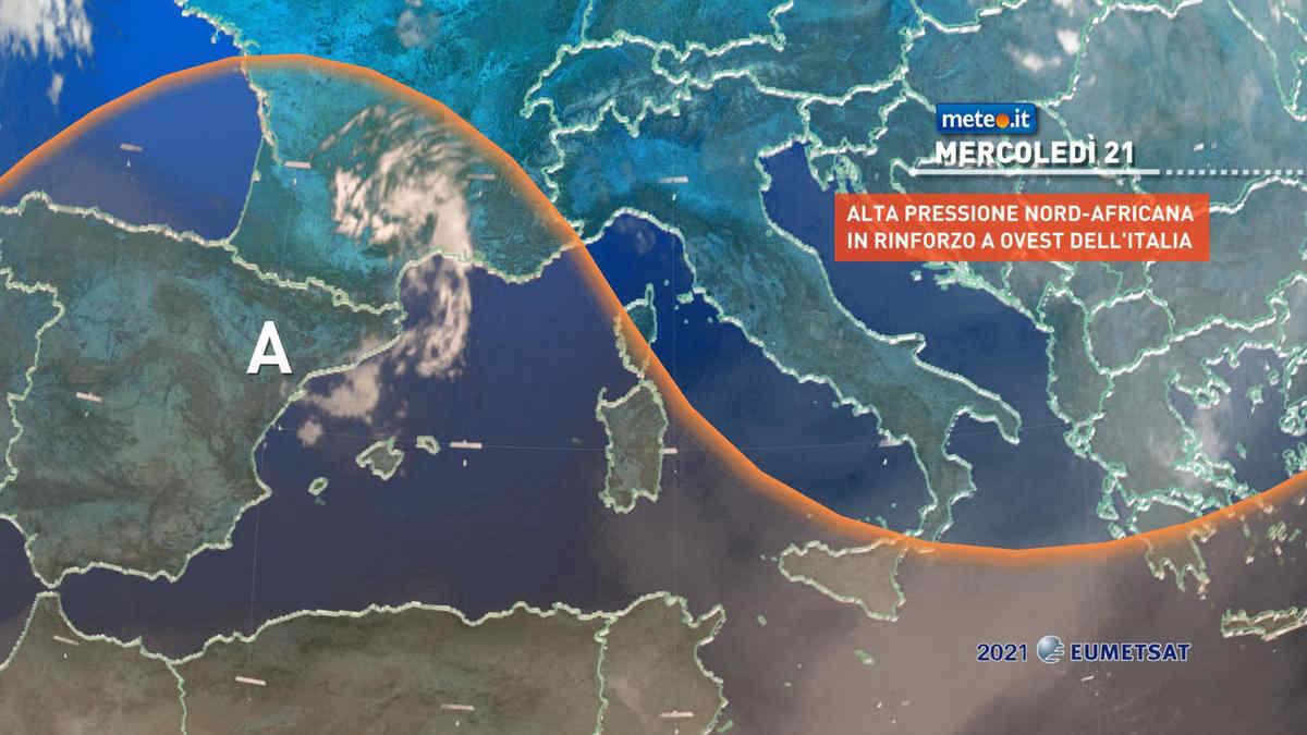 Meteo, mercoledì 21 luglio alta pressione africana in rinforzo
