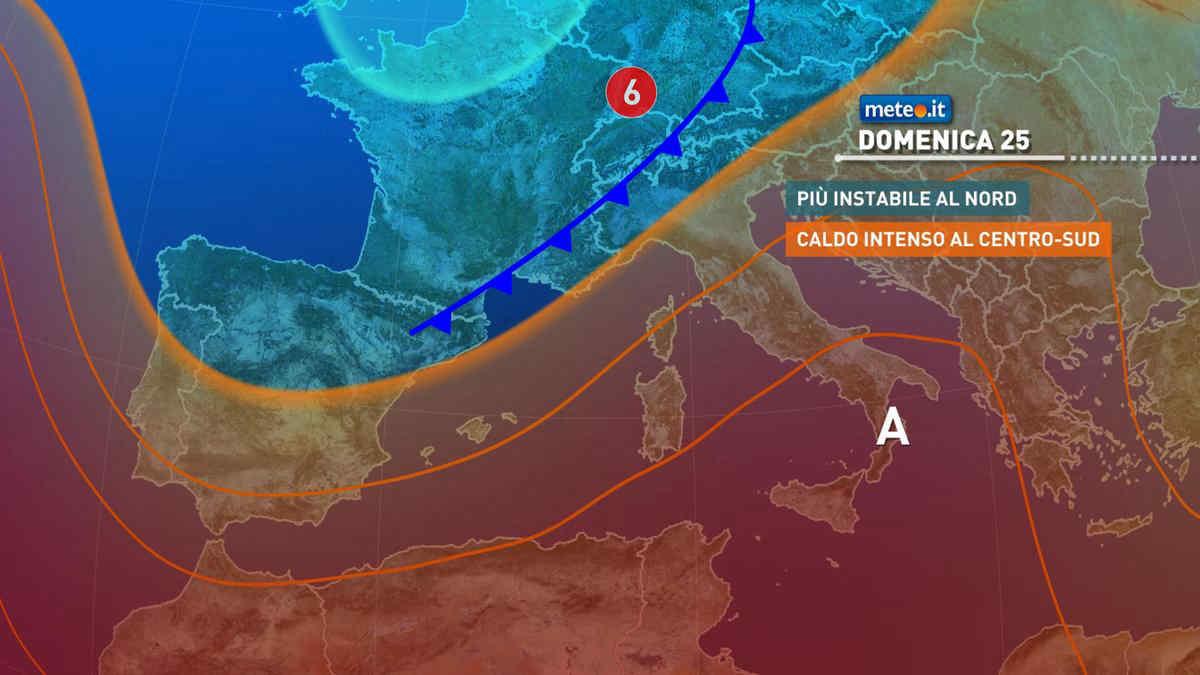 Meteo, domenica 25 aumenta il rischio di temporali al Nord