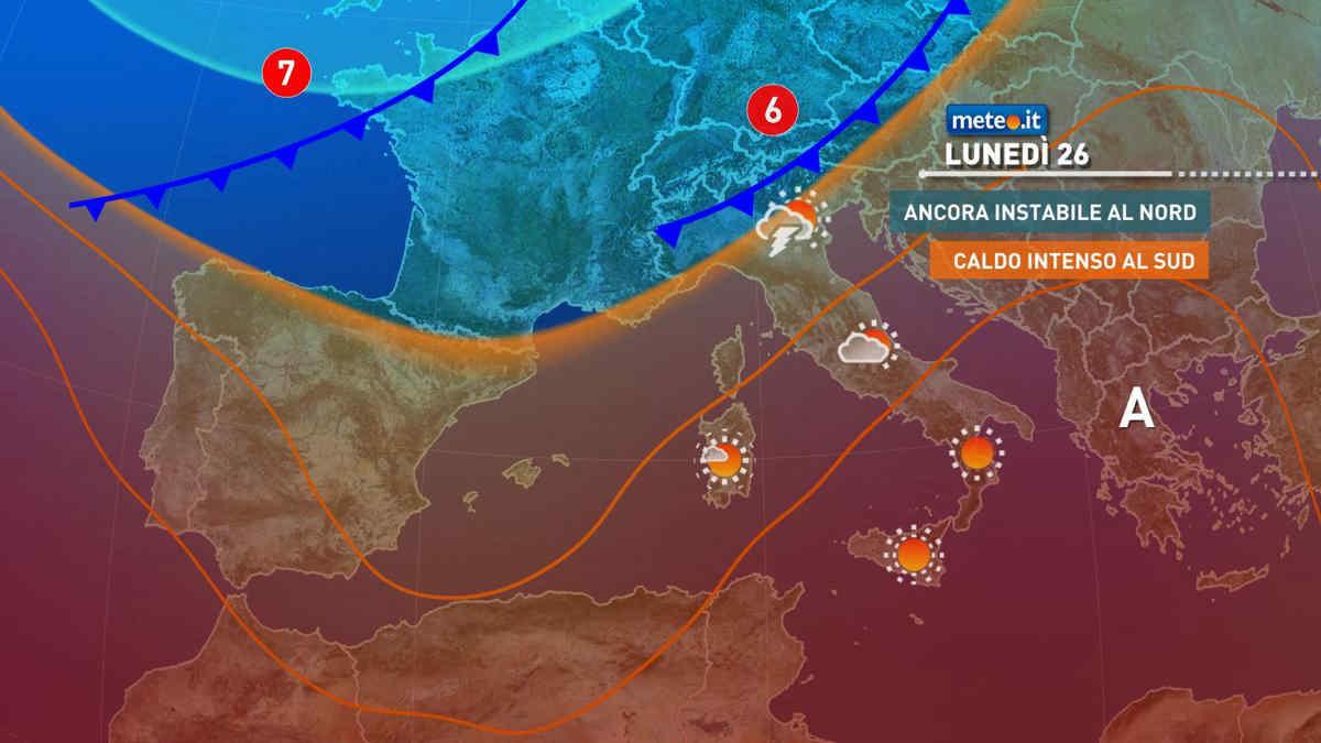 Meteo, tra il 26 e 27 luglio nuovi temporali al Nord e caldo intenso al Centro-Sud
