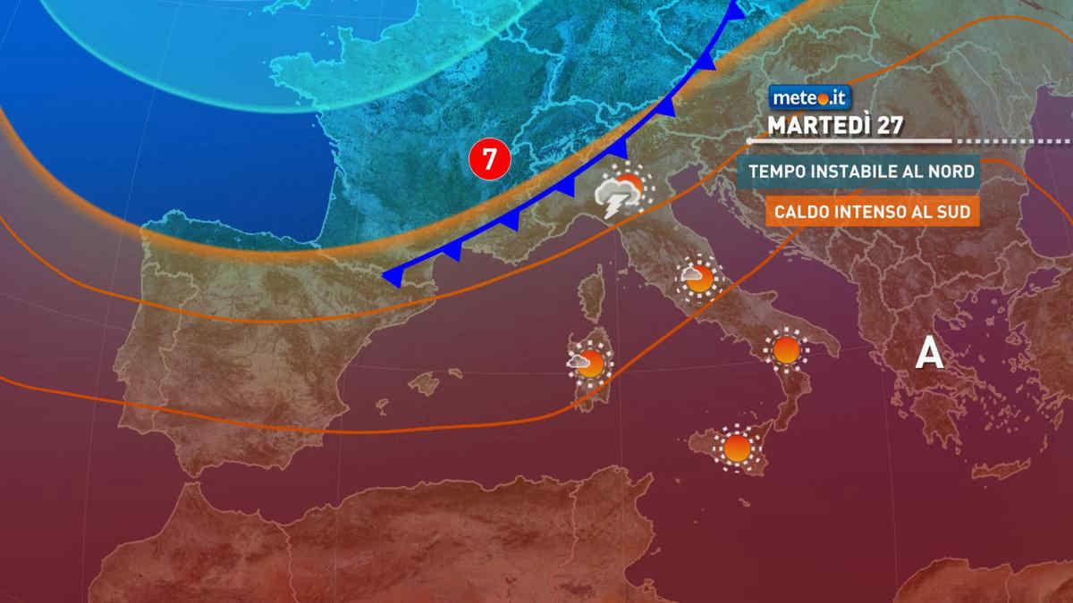Meteo, martedì 27 nuovi forti temporali al Nord e caldo con punte oltre i 40 gradi al Sud