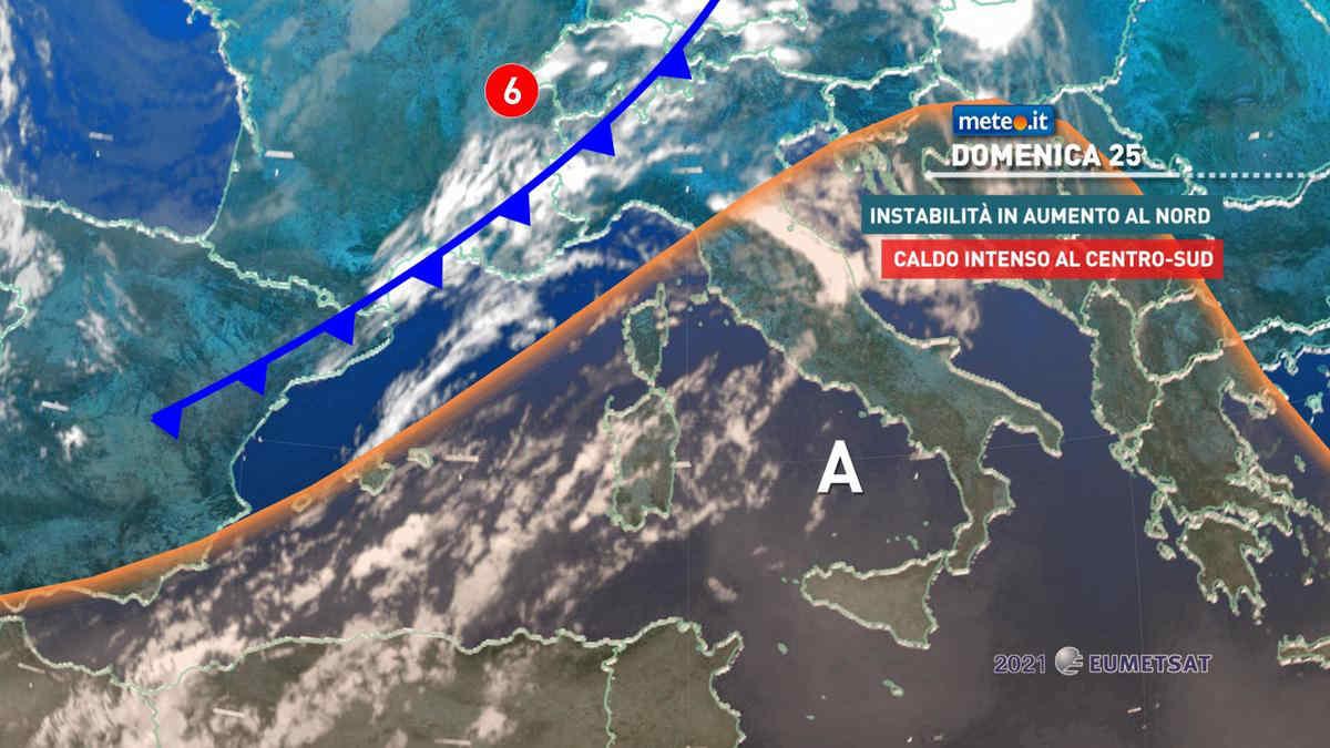 Meteo, domenica 25 temporali al Nord e caldo intenso con punte di 40 gradi al Centro-Sud