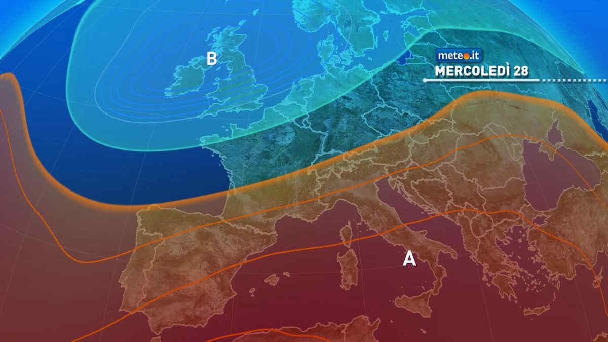 Meteo, da mercoledì 28 migliora al Nord, con un ulteriore aumento del caldo in tutta Italia