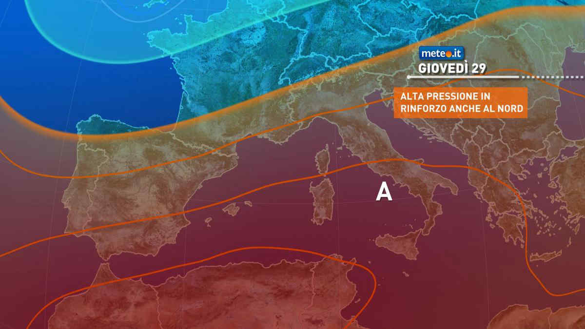 Meteo 29 luglio: anticiclone sull'Italia, caldo e afa in aumento