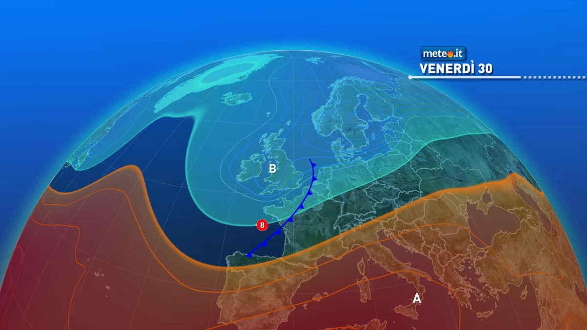 Meteo, da venerdì 30 aumenta l'instabilità al Nord, mentre il caldo intenso insiste al Sud