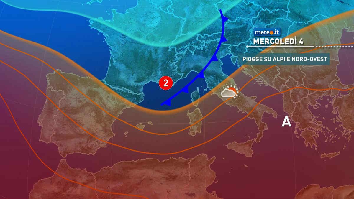 Meteo, mercoledì 4 temporali e clima fresco al Nord, caldo intenso al Sud