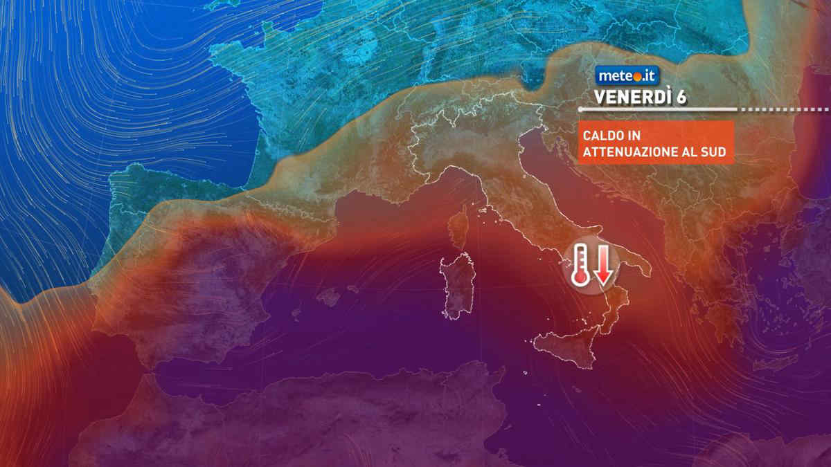 Meteo, venerdì 6 breve tregua da caldo intenso e temporali