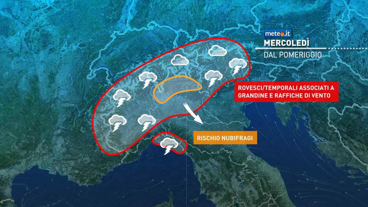 Meteo, 4 agosto di maltempo al Nord con rischio di forti temporali