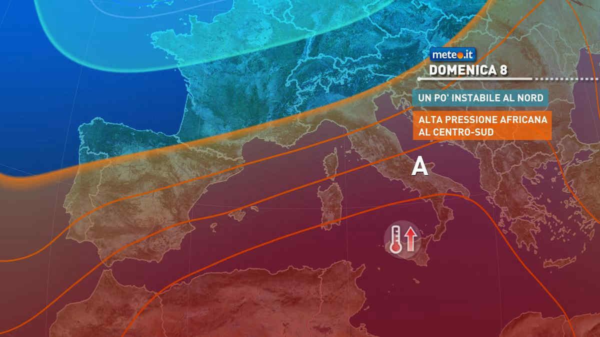 Meteo, 8 agosto instabile al Nord ed estremamente caldo al Centro-sud