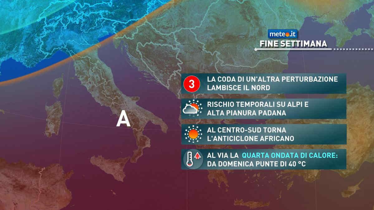 Meteo, weekend del 7-8 agosto instabile al Nord e molto caldo al Centro-sud