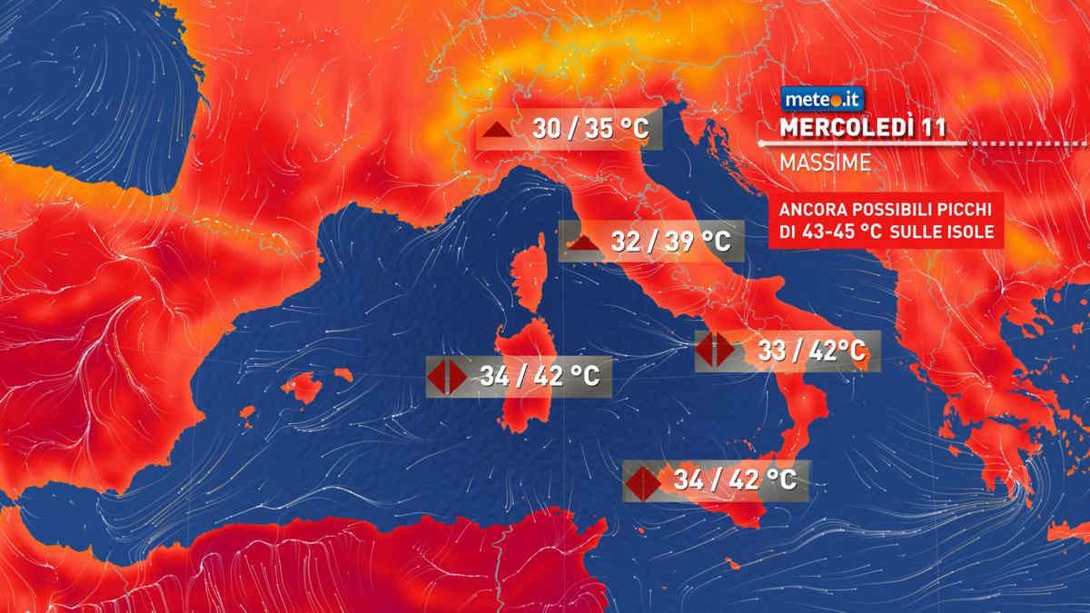 Meteo, oggi mercoledì 11 agosto, Anticiclone nord-africano con caldo intenso