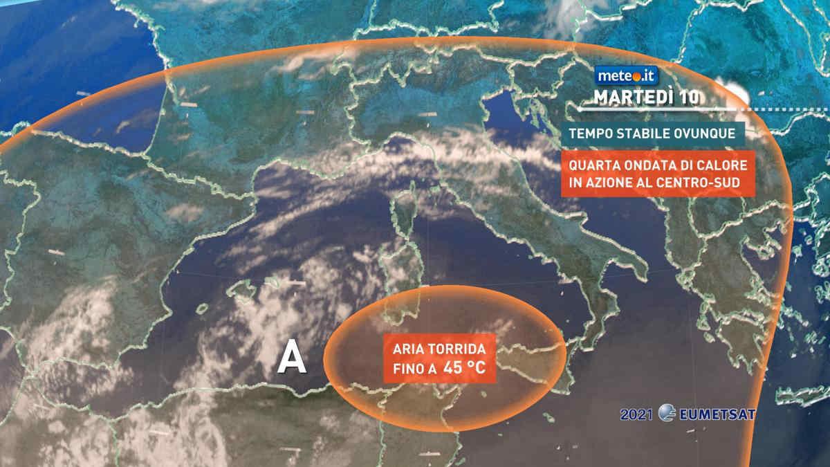 Meteo 10 agosto, Italia alle prese con la quarta ondata di caldo
