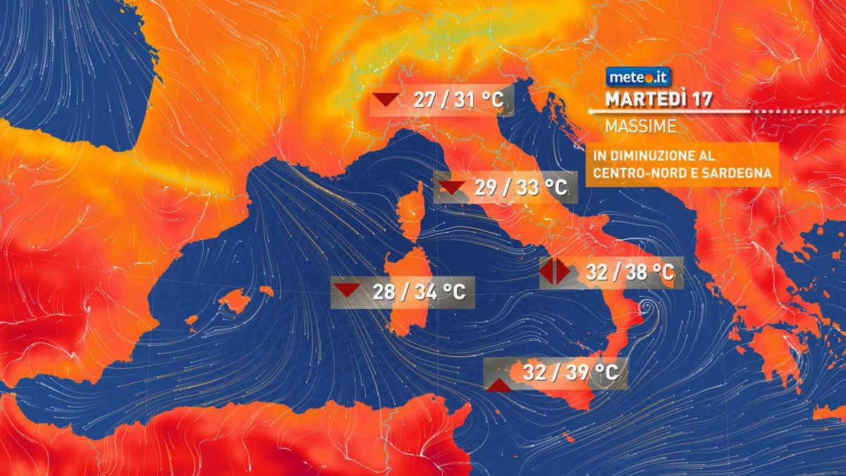 Meteo, oggi martedì 17 agosto, correnti fresche e calo termico al Centro-Nord