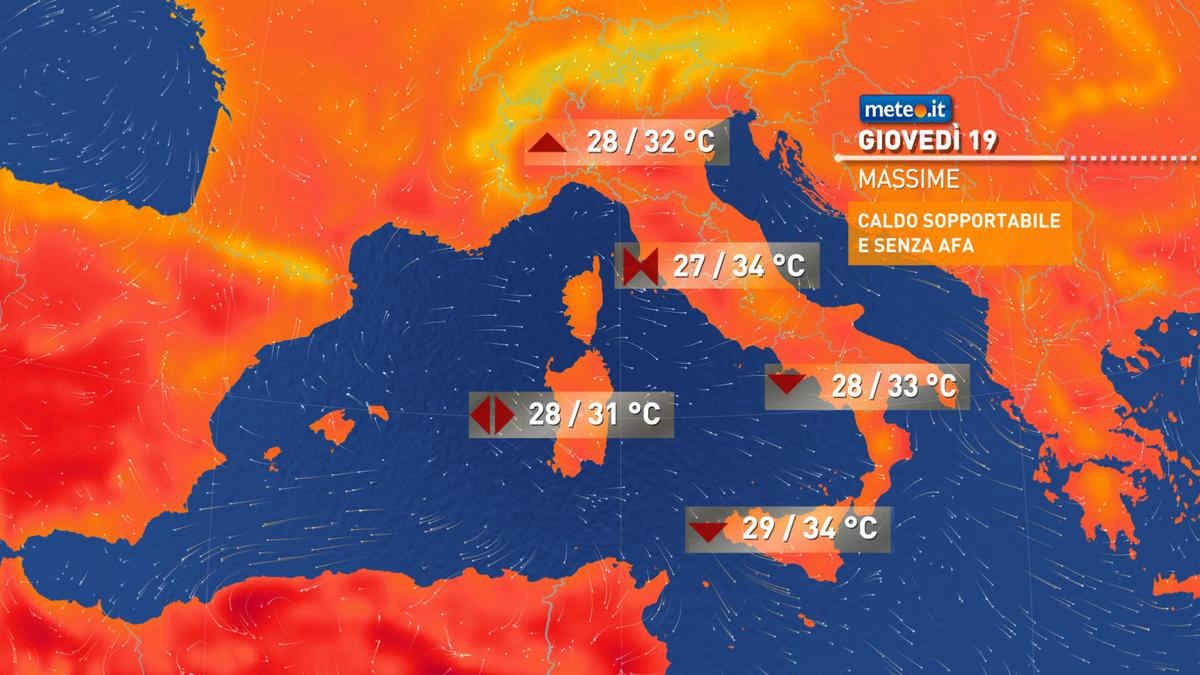 Meteo, oggi giovedì 19 agosto, prevalenza di sole e caldo contenuto