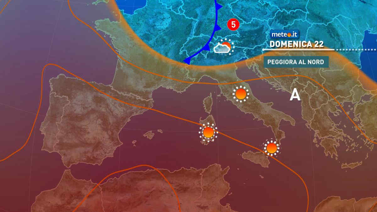 Meteo, da domenica 22 tempo in peggioramento al Nord