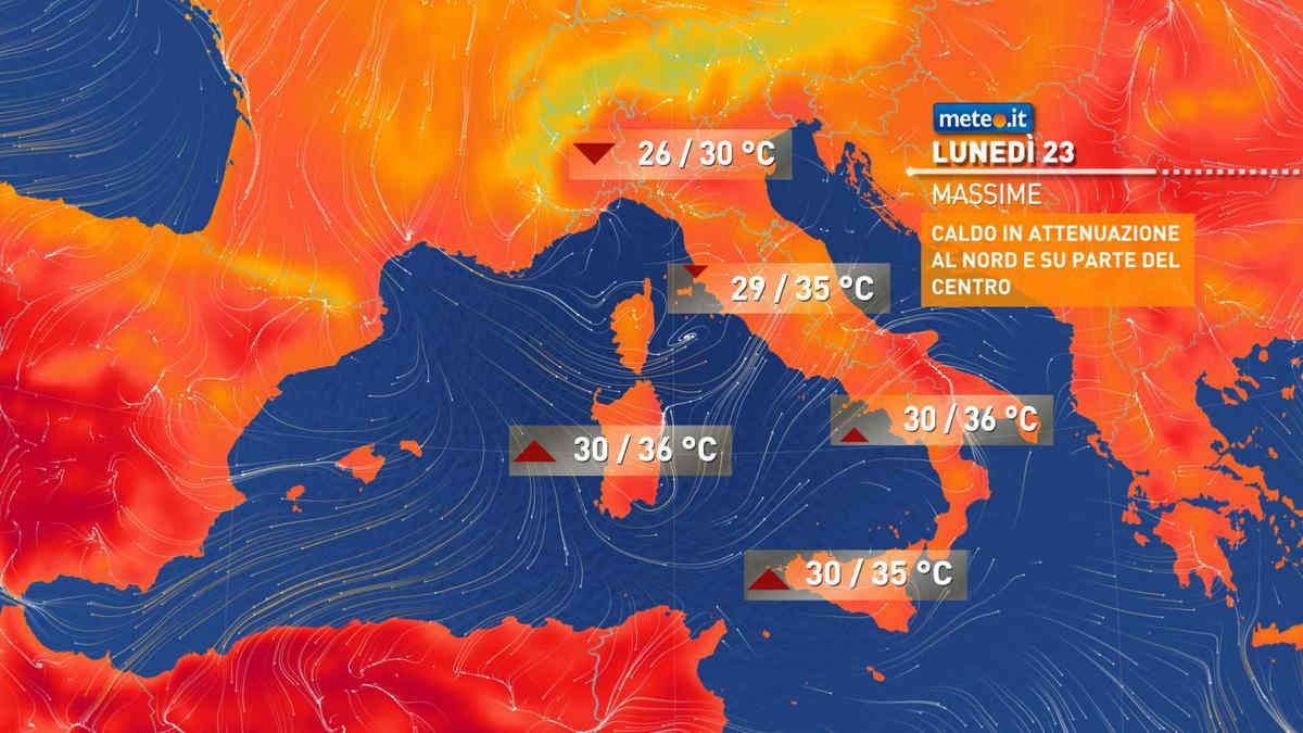 Meteo, oggi lunedì 23 agosto, instabile al Nord-Est e nelle regioni centrali