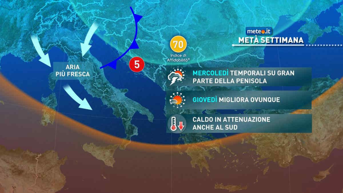 Meteo, tra mercoledì 25 e giovedì 26 agosto fine del gran caldo anche al Sud