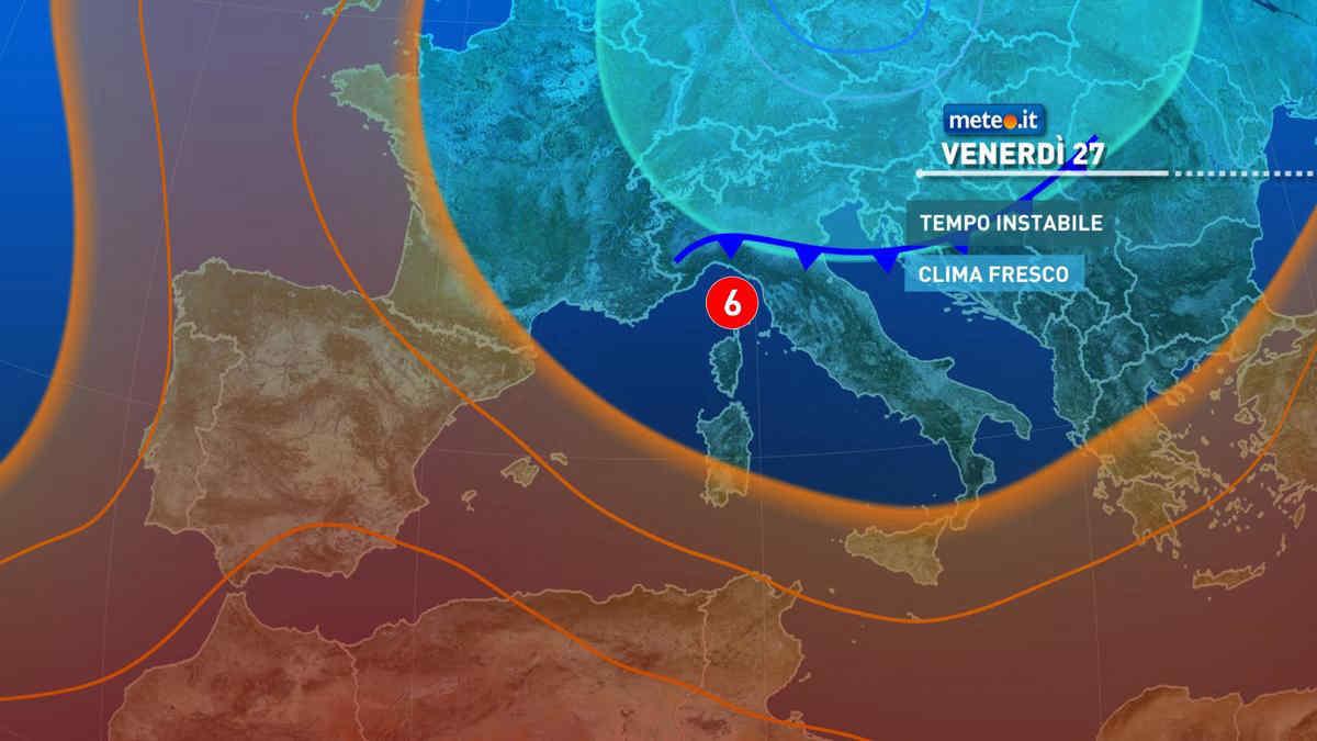 Meteo, venerdì 27 nuova perturbazione: attesi temporali e venti freschi