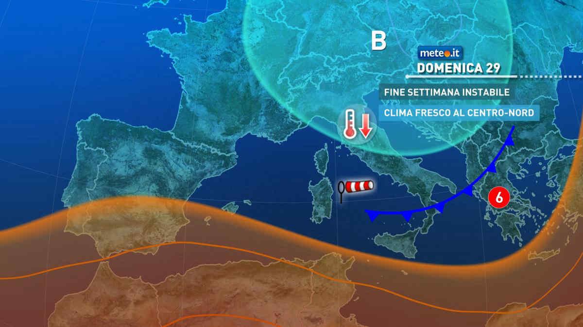 Meteo, domenica 29 agosto instabile e ventosa al Sud