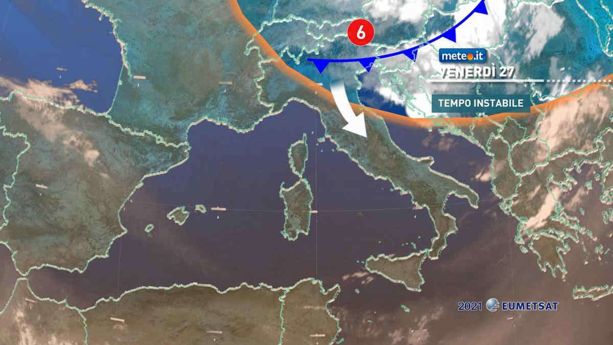 Meteo, venerdì 27 temporali e temperature in calo al Centro-Nord