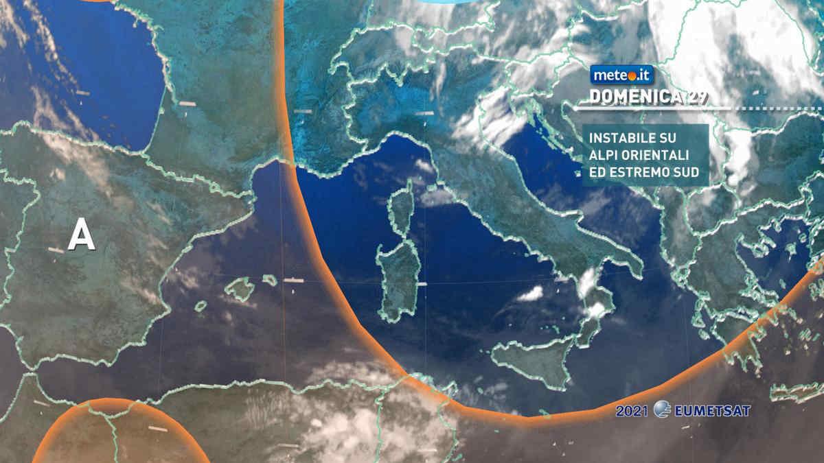 Meteo, 29 agosto fresco con rischio temporali al Sud