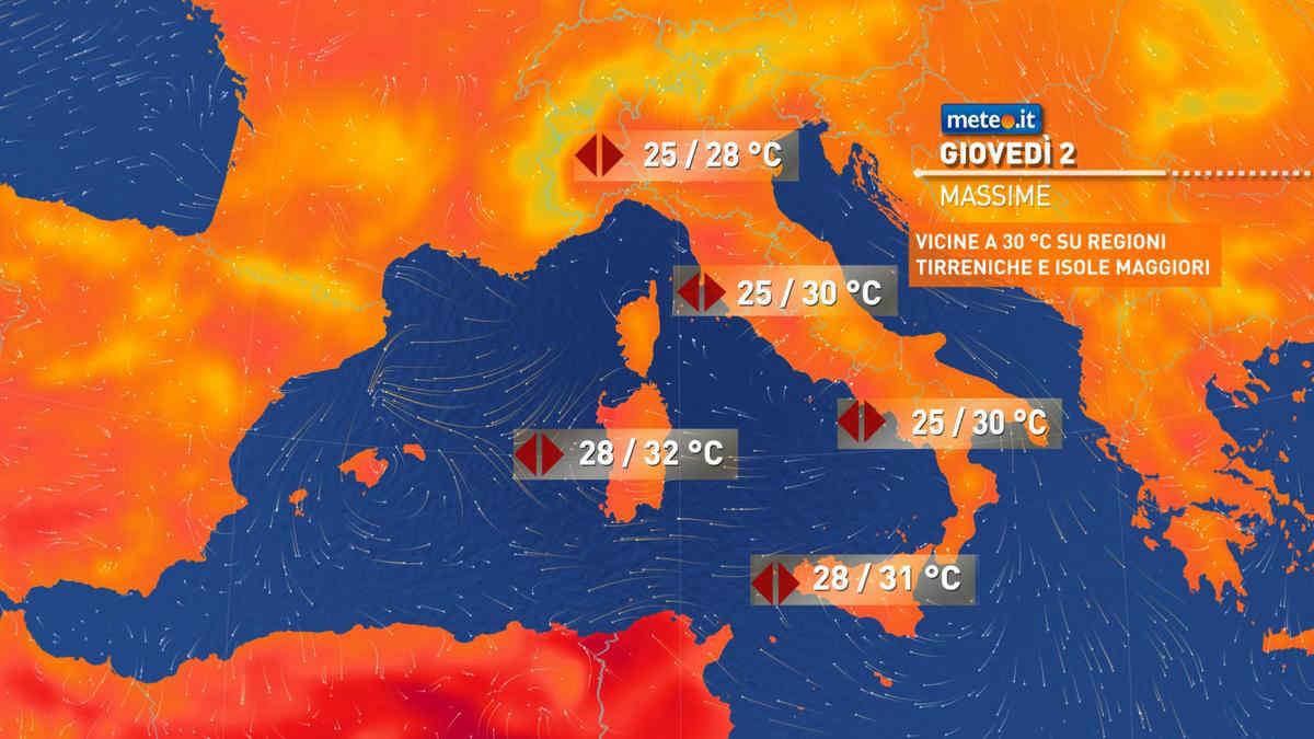 Meteo, oggi giovedì 2 settembre, prevalenza di sole e caldo nella norma