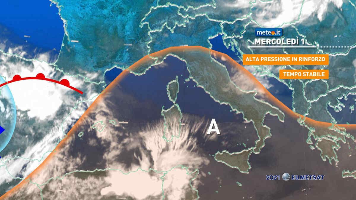 Meteo, mercoledì 1 settembre alta pressione in rinforzo