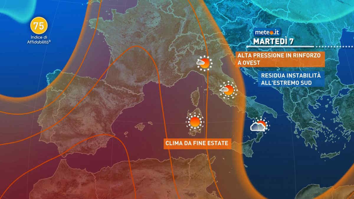 Meteo, 6-7 settembre soleggiato al Centro-nord e più instabile al Sud